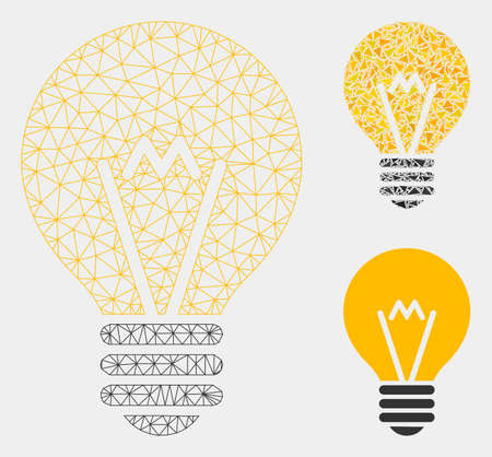 Mesh electric bulb model with triangle mosaic icon. Wire carcass triangular mesh of electric bulb. Vector mosaic of triangle elements in various sizes and color tones. Illustration