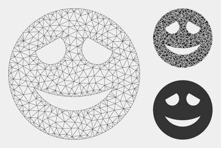 Mesh embarrased smiley model with triangle mosaic icon. Wire carcass polygonal mesh of embarrased smiley. Vector composition of triangle parts in various sizes and color shades. Иллюстрация