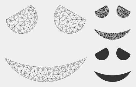 Mesh embarrassed smiley model with triangle mosaic icon. Wire carcass polygonal mesh of embarrassed smiley. Vector collage of triangle elements in variable sizes and color shades.