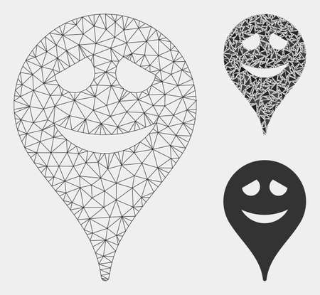 Mesh embarrassment smiley map marker model with triangle mosaic icon. Wire carcass triangular mesh of embarrassment smiley map marker. 일러스트
