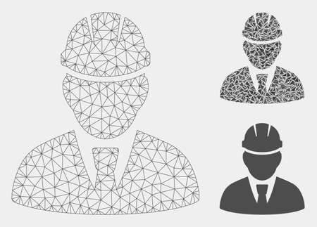 Mesh engineer model with triangle mosaic icon. Wire carcass polygonal mesh of engineer. Vector composition of triangle parts in various sizes and color tinges. Abstract flat mesh engineer, Ilustracja