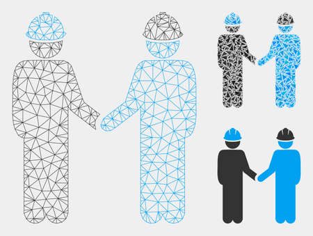 Mesh engineer persons handshake model with triangle mosaic icon. Wire frame triangular mesh of engineer persons handshake. Vector mosaic of triangles in various sizes and color tones.