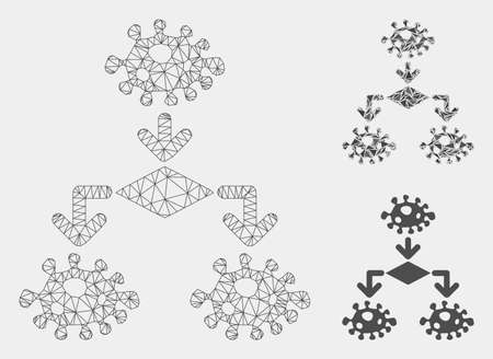 Mesh epidemic growth scheme model with triangle mosaic icon. Wire carcass polygonal mesh of epidemic growth scheme. Vector mosaic of triangle parts in different sizes and color shades. Ilustrace