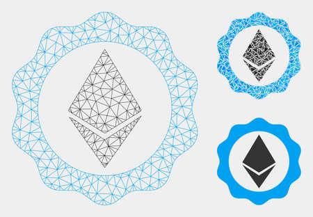 Mesh-Ethereum-Abzeichen-Siegelmodell mit Dreieck-Mosaik-Symbol. Drahtrahmen-Dreiecksgeflecht des Ethereum-Abzeichensiegels. Vektorzusammensetzung von Dreiecksteilen in verschiedenen Größen und Farbtönen. Vektorgrafik