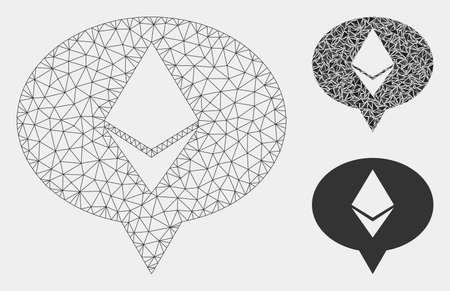 Mesh Ethereum banner balloon model with triangle mosaic icon. Wire frame polygonal mesh of Ethereum banner balloon. Vector collage of triangle elements in different sizes and color hues.