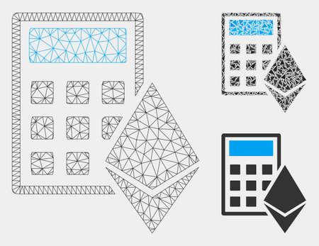 Mesh-Ethereum-Rechnermodell mit Dreieck-Mosaik-Symbol. Drahtkarkasse dreieckiges Netz des Ethereum-Rechners. Vektormosaik aus Dreieckselementen in variablen Größen und Farbtönen.