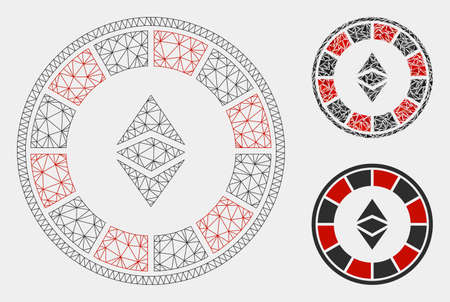 Mesh Ethereum casino roulette model with triangle mosaic icon. Wire frame polygonal mesh of Ethereum casino roulette. Vector mosaic of triangles in different sizes and color shades. Vettoriali