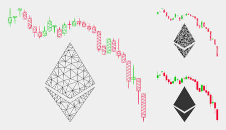 Mesh Ethereum fall chart model with triangle mosaic icon. Wire carcass triangular mesh of Ethereum fall chart. Vector mosaic of triangle parts in various sizes and color tints.