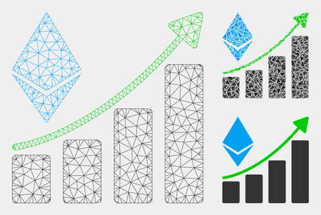Mesh Ethereum growth trend model with triangle mosaic icon. Wire frame polygonal network of Ethereum growth trend. Vector mosaic of triangle elements in variable sizes and color tones.
