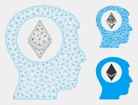 Mesh Ethereum mind model with triangle mosaic icon. Wire carcass triangular network of Ethereum mind. Vector mosaic of triangle elements in different sizes and color tinges.