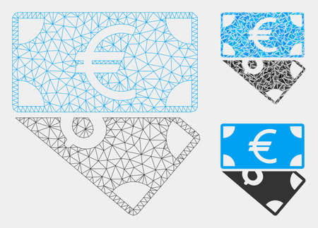 Mesh Euro and Dollar banknotes model with triangle mosaic icon. Wire frame triangular network of Euro and Dollar banknotes. Vector mosaic of triangle elements in variable sizes and color hues.