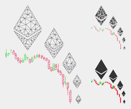 Mesh Ethereum deflation chart model with triangle mosaic icon. Wire frame polygonal mesh of Ethereum deflation chart. Vector composition of triangle elements in different sizes and color shades. Foto de archivo - 124596899