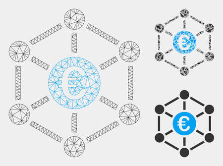 Mesh Euro bank network model with triangle mosaic icon. Wire frame triangular mesh of Euro bank network. Vector composition of triangle parts in variable sizes and color shades. Ilustração