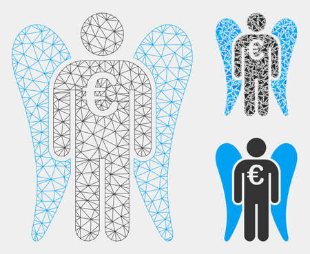 Mesh Euro angel investor model with triangle mosaic icon. Wire frame triangular mesh of Euro angel investor. Vector mosaic of triangle elements in variable sizes and color tints. Illustration