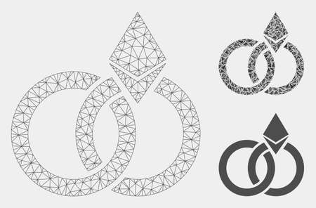 Mesh Ethereum wedding rings model with triangle mosaic icon. Wire carcass polygonal mesh of Ethereum wedding rings. Vector mosaic of triangle parts in different sizes and color tinges.
