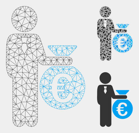 Mesh Euro banker model with triangle mosaic icon. Wire frame triangular mesh of Euro banker. Vector collage of triangles in variable sizes and color shades. Abstract flat mesh Euro banker,