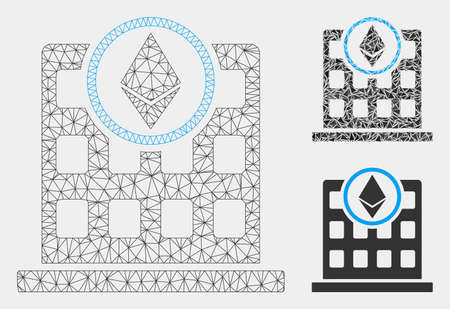 Mesh Ethereum office model with triangle mosaic icon. Wire frame triangular mesh of Ethereum office. Vector mosaic of triangle parts in variable sizes and color tints. Illusztráció