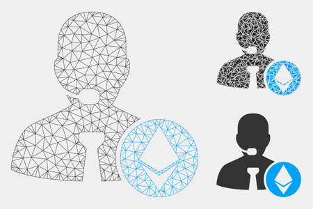 Mesh Ethereum operator manager model with triangle mosaic icon. Wire frame polygonal mesh of Ethereum operator manager. Vector mosaic of triangles in different sizes and color tinges.