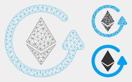 Mesh Ethereum refund model with triangle mosaic icon. Wire frame triangular network of Ethereum refund. Vector mosaic of triangle elements in variable sizes and color tones. Illustration