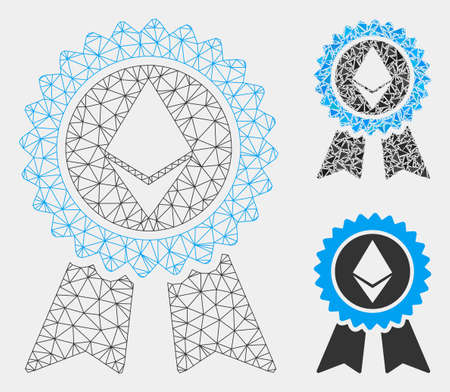 Mesh Ethereum reward seal model with triangle mosaic icon. Wire carcass polygonal mesh of Ethereum reward seal. Vector mosaic of triangle parts in different sizes and color shades.