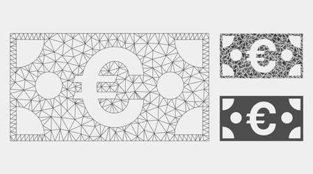 Mesh Euro banknote model with triangle mosaic icon. Wire frame polygonal mesh of Euro banknote. Vector collage of triangles in variable sizes and color shades. Abstract 2d mesh Euro banknote, 向量圖像