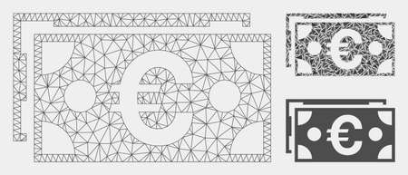 Modello di banconote in euro in rete con icona a triangolo a mosaico. Maglia poligonale di carcassa metallica di banconote in euro. Mosaico vettoriale di parti triangolari di varie dimensioni e sfumature di colore. Banconote in euro astratte 2d mesh, Vettoriali