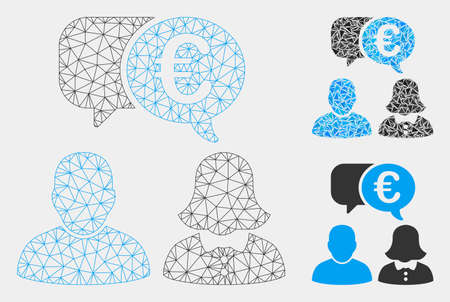 Mesh Euro chat model with triangle mosaic icon. Wire carcass triangular mesh of Euro chat. Vector composition of triangle elements in various sizes and color tones. Abstract 2d mesh Euro chat,