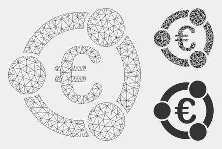 Mesh Euro collaboration model with triangle mosaic icon. Wire carcass polygonal mesh of Euro collaboration. Vector composition of triangle elements in different sizes and color tones.