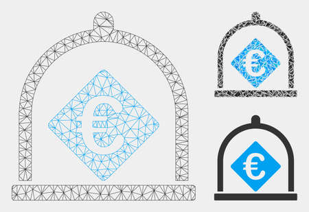 Mesh Euro deposit model with triangle mosaic icon. Wire frame polygonal mesh of Euro deposit. Vector composition of triangle parts in various sizes and color tints. Abstract 2d mesh Euro deposit,