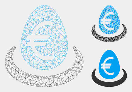 Mesh Euro deposit model with triangle mosaic icon. Wire frame triangular mesh of Euro deposit. Vector mosaic of triangles in different sizes and color hues. Abstract 2d mesh Euro deposit,