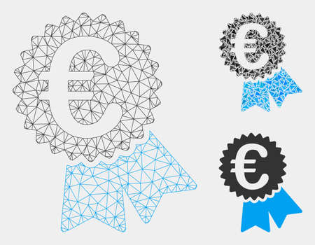 Mesh Euro featured price tag model with triangle mosaic icon. Wire frame triangular mesh of Euro featured price tag. Vector collage of triangle parts in various sizes and color tints. Ilustração