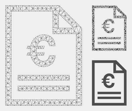 Mesh Euro invoice page model with triangle mosaic icon. Wire carcass polygonal mesh of Euro invoice page. Vector collage of triangle elements in variable sizes and color tones. Иллюстрация