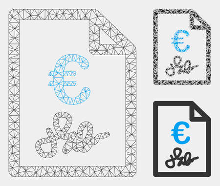 Mesh Euro invoice model with triangle mosaic icon. Wire frame polygonal network of Euro invoice. Vector mosaic of triangle elements in various sizes and color tints. Abstract 2d mesh Euro invoice,