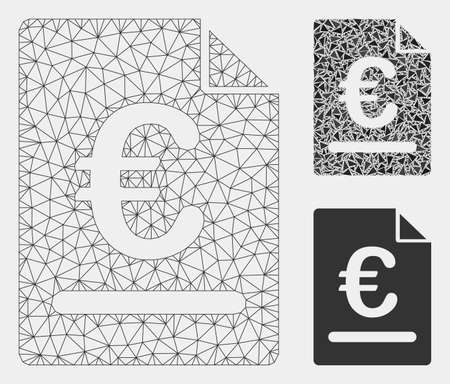 Mesh Euro invoice model with triangle mosaic icon. Wire frame triangular mesh of Euro invoice. Vector mosaic of triangle elements in variable sizes and color tinges. Abstract 2d mesh Euro invoice, Иллюстрация