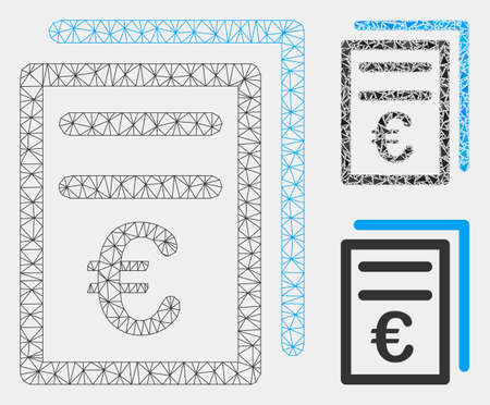 Mesh Euro invoices model with triangle mosaic icon. Wire carcass polygonal mesh of Euro invoices. Vector mosaic of triangle parts in variable sizes and color tinges. Abstract flat mesh Euro invoices, Иллюстрация