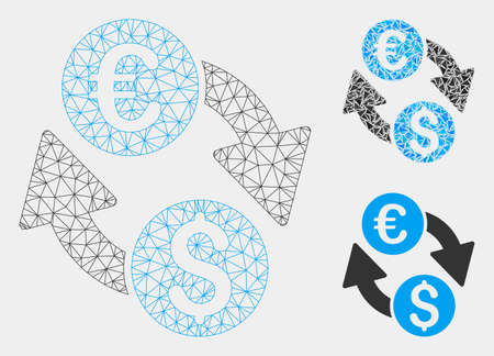 Mesh Euro Dollar change model with triangle mosaic icon. Wire frame polygonal network of Euro Dollar change. Vector mosaic of triangle elements in variable sizes and color tones. Illustration