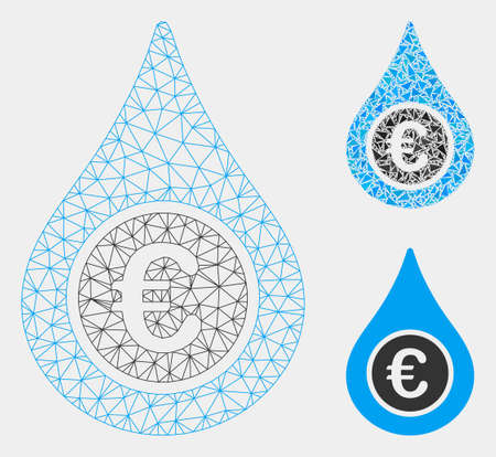 Mesh Euro liquid drop model with triangle mosaic icon. Wire frame triangular mesh of Euro liquid drop. Vector mosaic of triangle parts in various sizes and color hues.