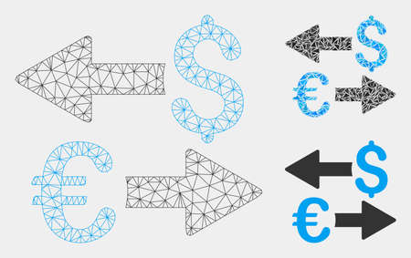 Mesh Euro Dollar transactions model with triangle mosaic icon. Wire frame triangular mesh of Euro Dollar transactions. Vector mosaic of triangles in various sizes and color tones.