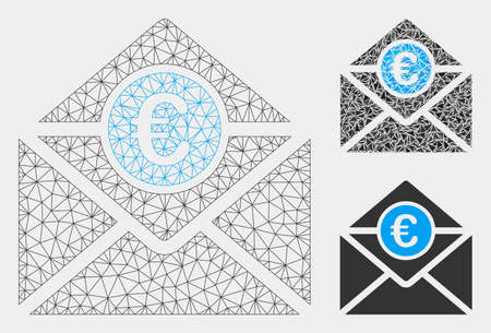 Mesh Euro mail model with triangle mosaic icon. Wire carcass polygonal network of Euro mail. Vector mosaic of triangles in various sizes and color tones. Abstract flat mesh Euro mail,