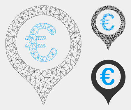 Mesh Euro map marker model with triangle mosaic icon. Wire frame polygonal mesh of Euro map marker. Vector composition of triangle elements in variable sizes and color tinges.