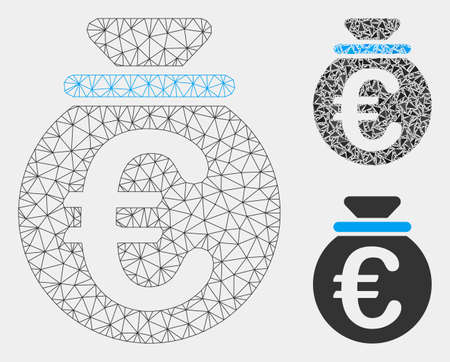 Mesh Euro fund model with triangle mosaic icon. Wire frame polygonal mesh of Euro fund. Vector mosaic of triangle parts in variable sizes and color shades. Abstract 2d mesh Euro fund,