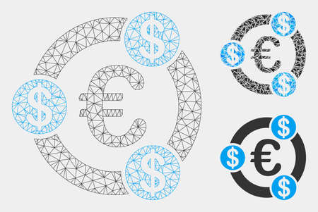 Mesh Euro financial collaboration model with triangle mosaic icon. Wire carcass polygonal mesh of Euro financial collaboration. Vector composition of triangle elements in various sizes and color hues.