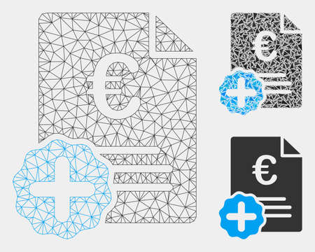 Mesh Euro medical invoice model with triangle mosaic icon. Wire frame triangular mesh of Euro medical invoice. Vector mosaic of triangles in various sizes and color hues.