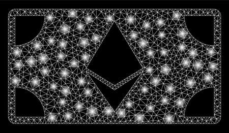 Bright mesh Ethereum banknote with glare effect. Abstract illuminated model of Ethereum banknote icon. Shiny wire carcass triangular network Ethereum banknote.