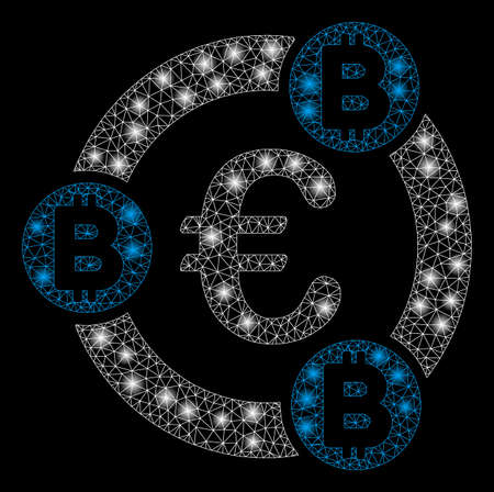 Bright mesh Euro Bitcoin collaboration with lightspot effect. Abstract illuminated model of Euro Bitcoin collaboration icon. Shiny wire frame triangular mesh Euro Bitcoin collaboration. Ilustração
