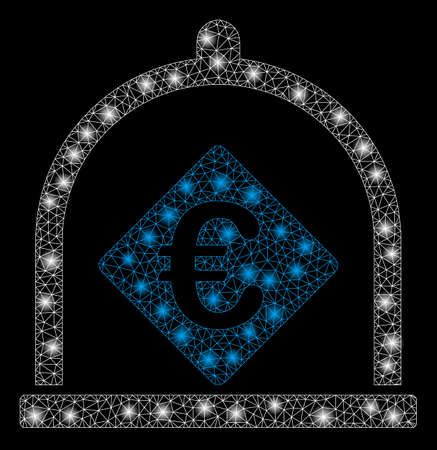 Bright mesh Euro deposit with glow effect. Abstract illuminated model of Euro deposit icon. Shiny wire frame triangular mesh Euro deposit. Vector abstraction on a black background.