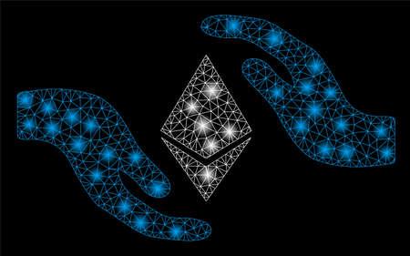 Hellmaschige Ethereum-Pflegehände mit Lightspot-Effekt. Abstraktes beleuchtetes Modell des Ethereum-Pflegehandsymbols. Glänzendes Drahtgestell mit dreieckigem Mesh Ethereum-Pflegehände.