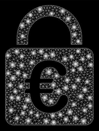 Bright mesh Euro lock with glare effect. Abstract illuminated model of Euro lock icon. Shiny wire carcass polygonal mesh Euro lock. Vector abstraction on a black background.