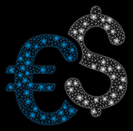 Bright mesh Euro and Dollar currency with lightspot effect. Abstract illuminated model of Euro and Dollar currency icon. Shiny wire carcass polygonal mesh Euro and Dollar currency.