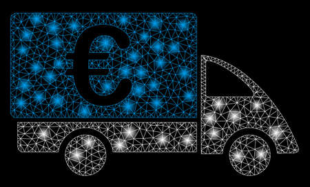 Bright mesh Euro collector car with glare effect. Abstract illuminated model of Euro collector car icon. Shiny wire frame triangular mesh Euro collector car. Vector abstraction on a black background.